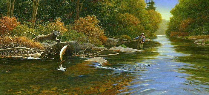 When you catch a fish  Fly Fisherman Painting